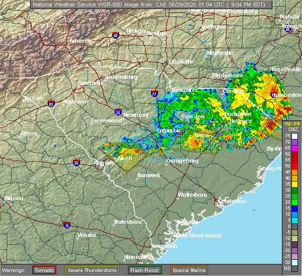 Radar Image for Severe Thunderstorms near Sumter, SC at 6/28/2020 9:08 PM EDT