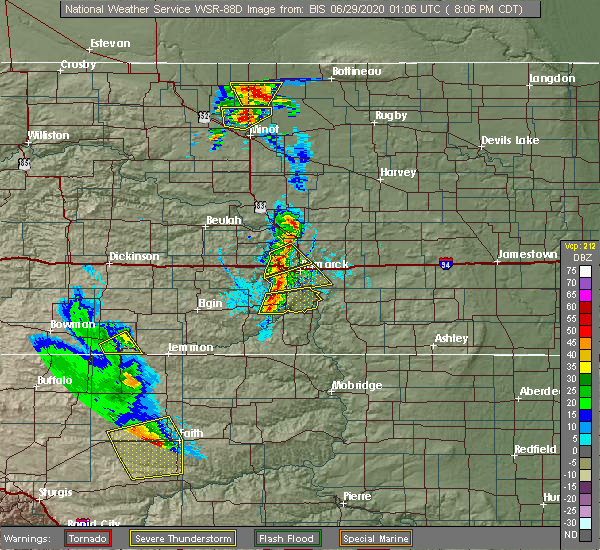 Radar Image for Severe Thunderstorms near Bucyrus, ND at 6/28/2020 7:14 PM MDT