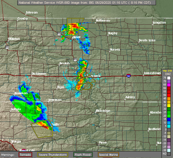 Radar Image for Severe Thunderstorms near Harmon, ND at 6/28/2020 8:23 PM CDT