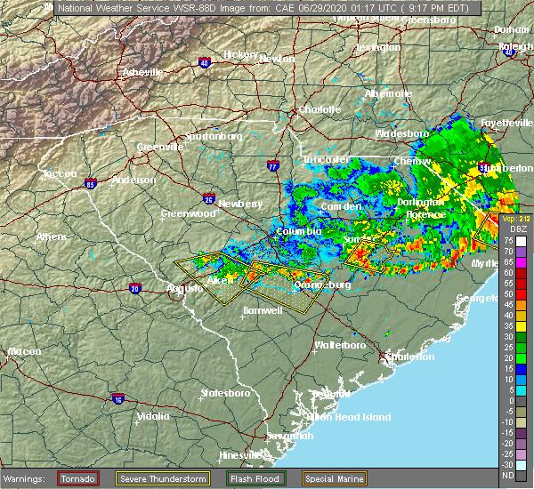 Radar Image for Severe Thunderstorms near Shiloh, SC at 6/28/2020 9:24 PM EDT