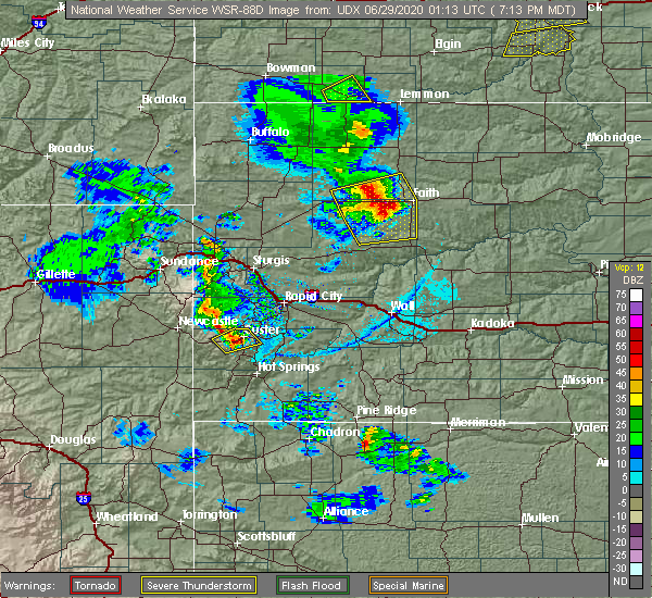 Radar Image for Severe Thunderstorms near Custer, SD at 6/28/2020 7:25 PM MDT