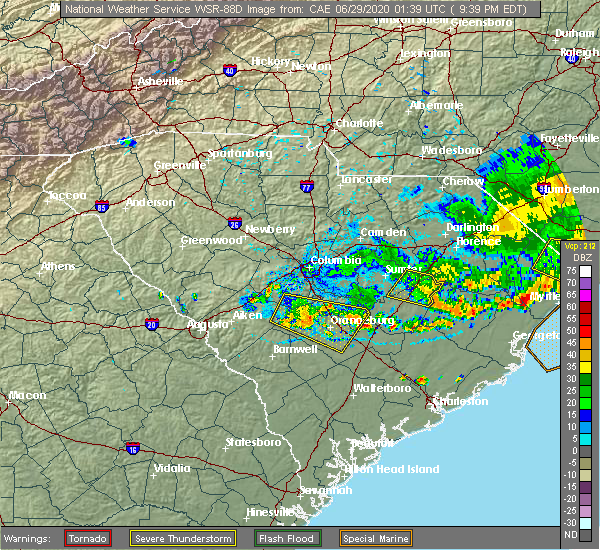 Radar Image for Severe Thunderstorms near Shiloh, SC at 6/28/2020 9:44 PM EDT