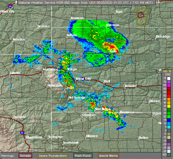 Radar Image for Severe Thunderstorms near Colonial Pine Hills, SD at 6/28/2020 8:01 PM MDT