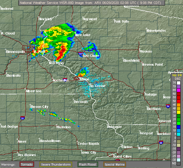 Radar Image for Severe Thunderstorms near Winona, MN at 6/28/2020 9:11 PM CDT