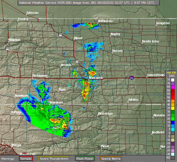 Radar Image for Severe Thunderstorms near Green Grass, SD at 6/28/2020 8:12 PM MDT