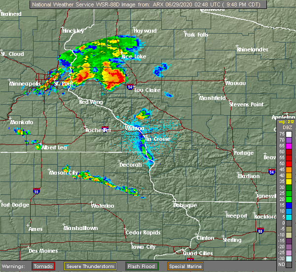 Radar Image for Severe Thunderstorms near Elk Mound, WI at 6/28/2020 9:53 PM CDT