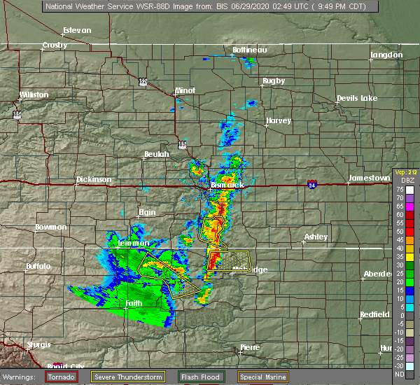 Radar Image for Severe Thunderstorms near Fort Yates, ND at 6/28/2020 9:54 PM CDT