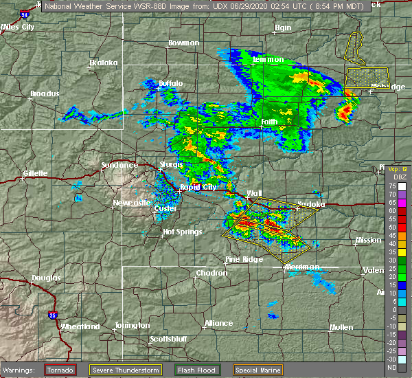 Radar Image for Severe Thunderstorms near Cottonwood, SD at 6/28/2020 8:57 PM MDT