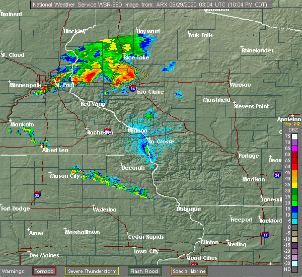 Radar Image for Severe Thunderstorms near Tainter Lake, WI at 6/28/2020 10:08 PM CDT