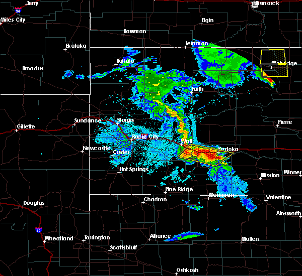 Radar Image for Severe Thunderstorms near Cottonwood, SD at 6/28/2020 9:34 PM MDT