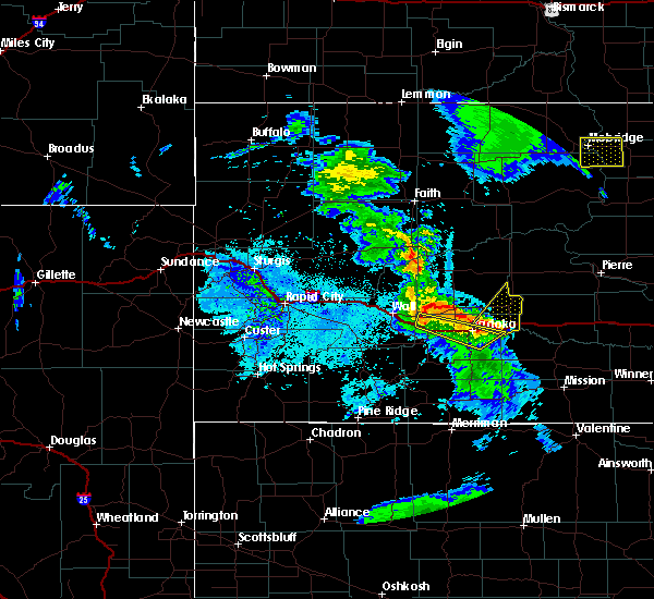 Radar Image for Severe Thunderstorms near Cottonwood, SD at 6/28/2020 9:54 PM MDT