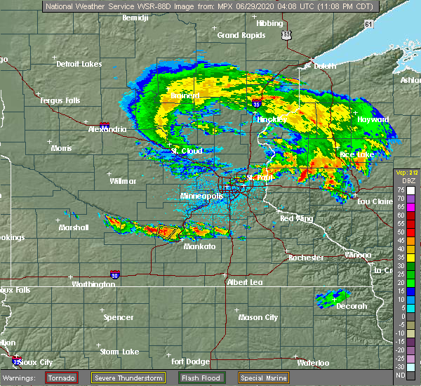 Radar Image for Severe Thunderstorms near Nicollet, MN at 6/28/2020 11:13 PM CDT