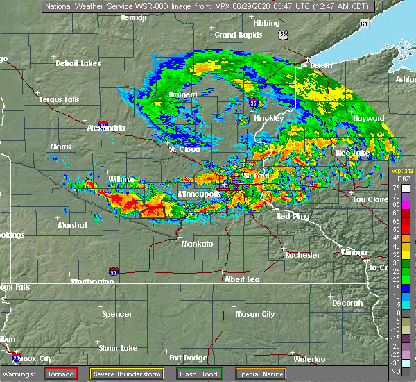 Radar Image for Severe Thunderstorms near Winthrop, MN at 6/29/2020 12:53 AM CDT