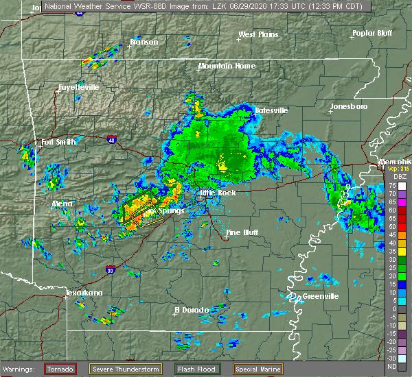 Radar Image for Severe Thunderstorms near Hot Springs Village, AR at 6/29/2020 12:41 PM CDT