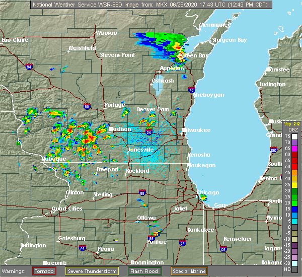 Radar Image for Severe Thunderstorms near Madison, WI at 6/29/2020 12:48 PM CDT