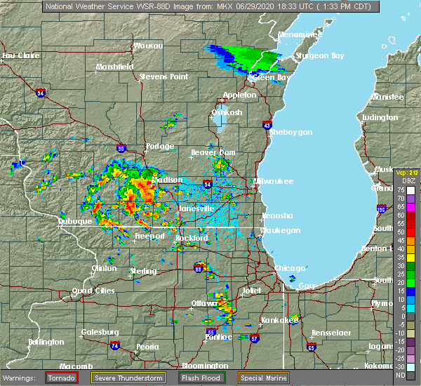 Radar Image for Severe Thunderstorms near Evansville, WI at 6/29/2020 1:38 PM CDT