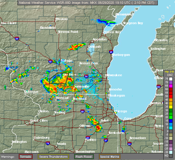 Radar Image for Severe Thunderstorms near Madison, WI at 6/29/2020 2:14 PM CDT