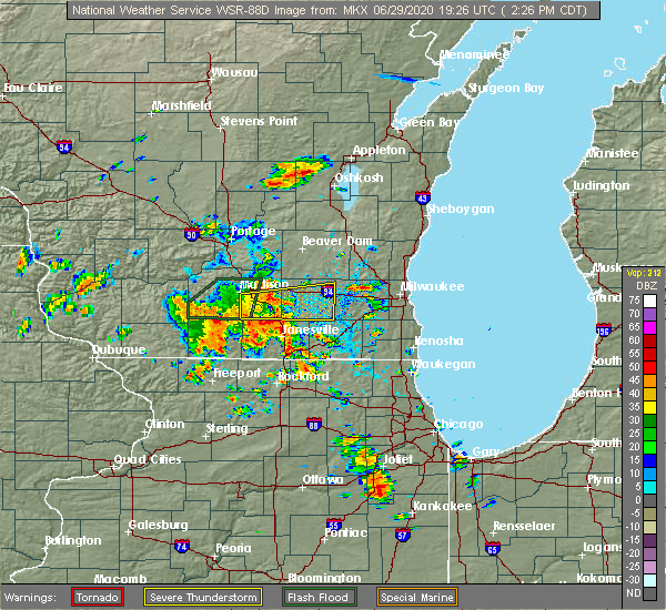 Radar Image for Severe Thunderstorms near Jefferson, WI at 6/29/2020 2:32 PM CDT
