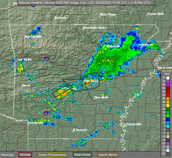 Radar Image for Severe Thunderstorms near Midway, AR at 6/29/2020 2:44 PM CDT