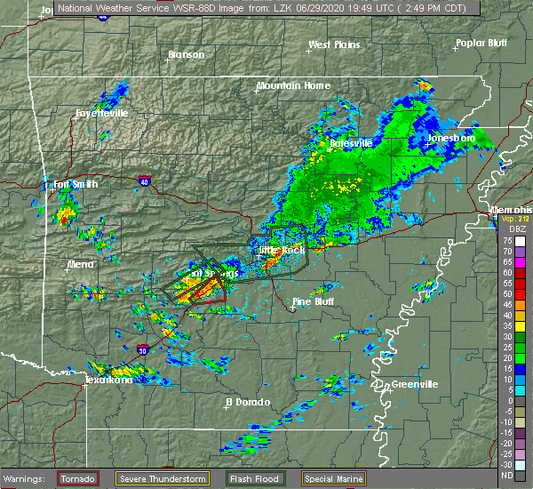 Radar Image for Severe Thunderstorms near Midway, AR at 6/29/2020 2:52 PM CDT