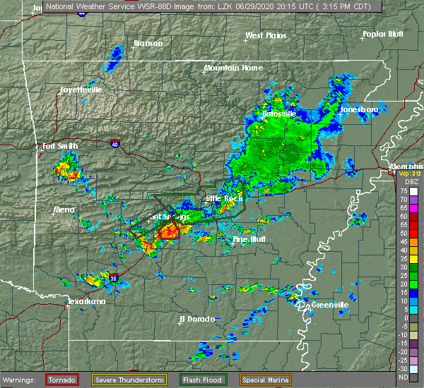 Radar Image for Severe Thunderstorms near Midway, AR at 6/29/2020 3:18 PM CDT