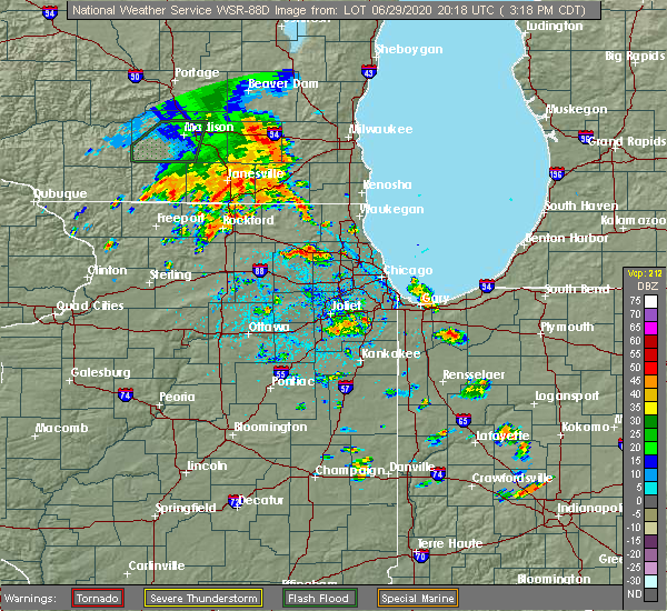 Radar Image for Severe Thunderstorms near Lake Zurich, IL at 6/29/2020 3:23 PM CDT