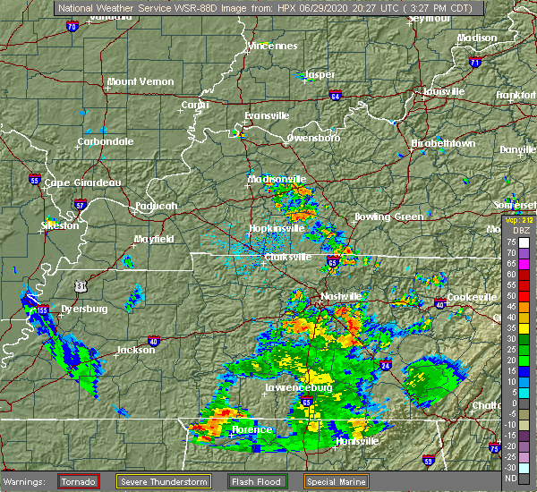 Radar Image for Severe Thunderstorms near Lewisburg, KY at 6/29/2020 3:30 PM CDT