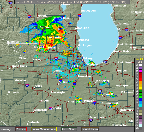Radar Image for Severe Thunderstorms near Lake Zurich, IL at 6/29/2020 3:38 PM CDT