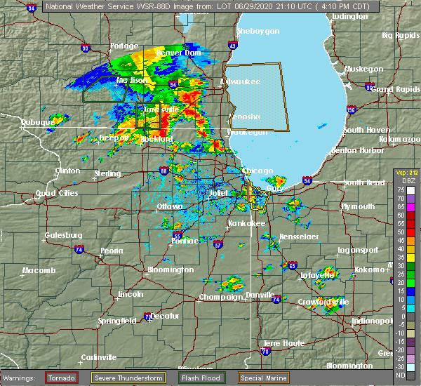 Radar Image for Severe Thunderstorms near Burnham, IL at 6/29/2020 4:14 PM CDT