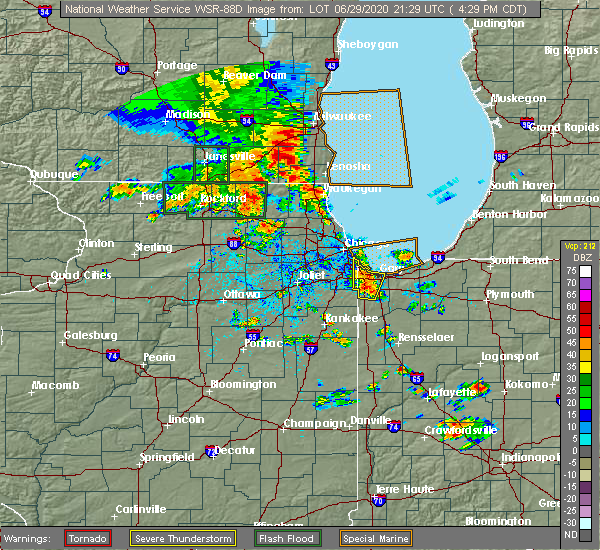 Radar Image for Severe Thunderstorms near Burnham, IL at 6/29/2020 4:32 PM CDT