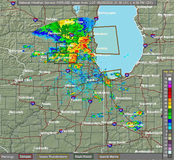 Radar Image for Severe Thunderstorms near Griffith, IN at 6/29/2020 4:44 PM CDT