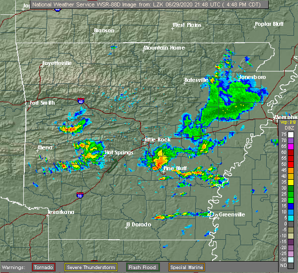 Radar Image for Severe Thunderstorms near Altheimer, AR at 6/29/2020 4:52 PM CDT