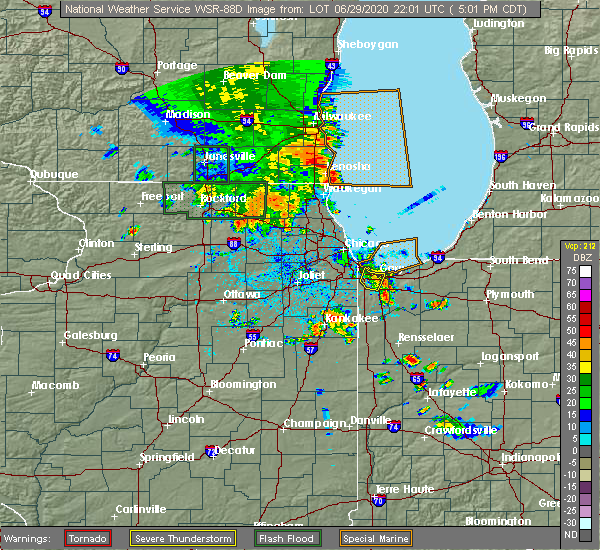 Radar Image for Severe Thunderstorms near Griffith, IN at 6/29/2020 5:09 PM CDT
