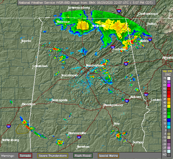 Radar Image for Severe Thunderstorms near Pell City, AL at 6/29/2020 5:11 PM CDT