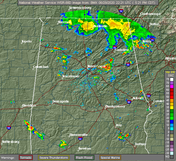 Radar Image for Severe Thunderstorms near Rainbow City, AL at 6/29/2020 5:29 PM CDT