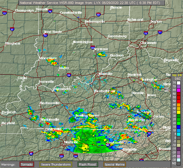 Radar Image for Severe Thunderstorms near Liberty, KY at 6/29/2020 6:40 PM EDT