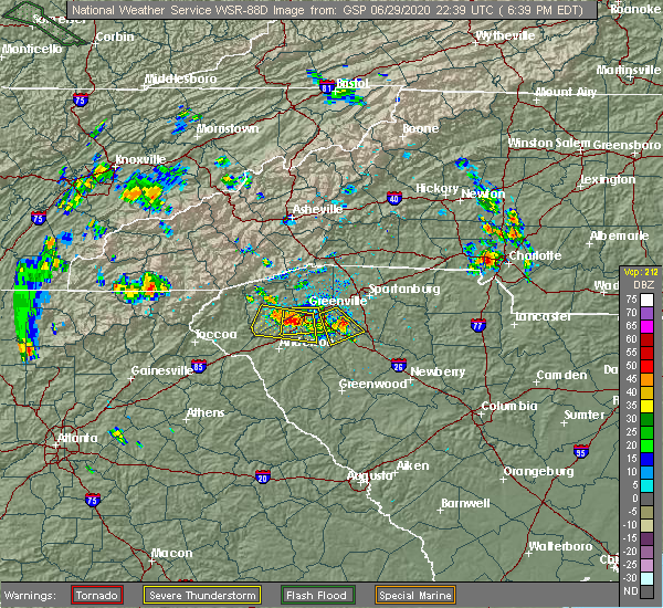Radar Image for Severe Thunderstorms near Gray Court, SC at 6/29/2020 6:46 PM EDT