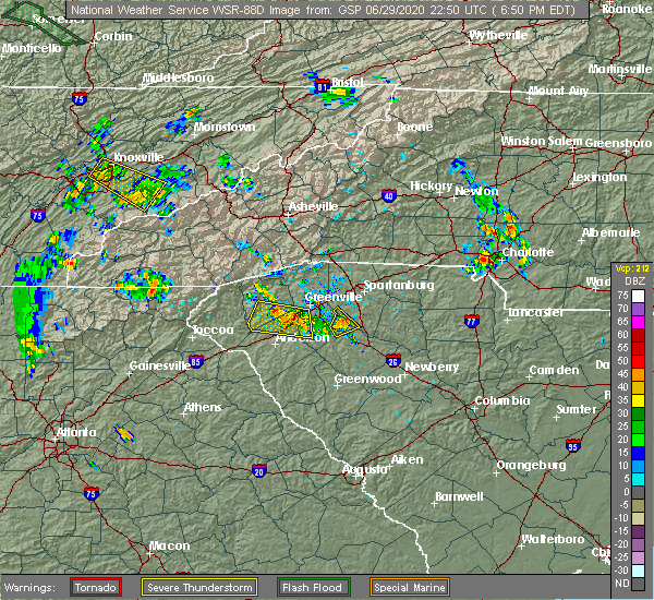 Radar Image for Severe Thunderstorms near Powdersville, SC at 6/29/2020 7:02 PM EDT