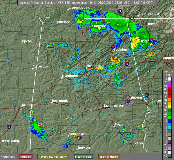 Radar Image for Severe Thunderstorms near Birmingham, AL at 6/29/2020 6:13 PM CDT