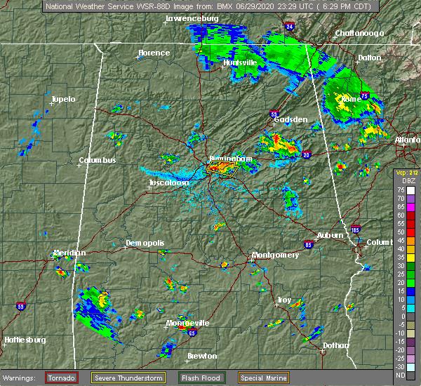 Radar Image for Severe Thunderstorms near Birmingham, AL at 6/29/2020 6:36 PM CDT