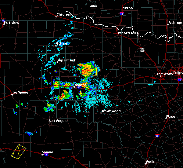 Radar Image for Severe Thunderstorms near Stamford, TX at 6/29/2020 6:36 PM CDT