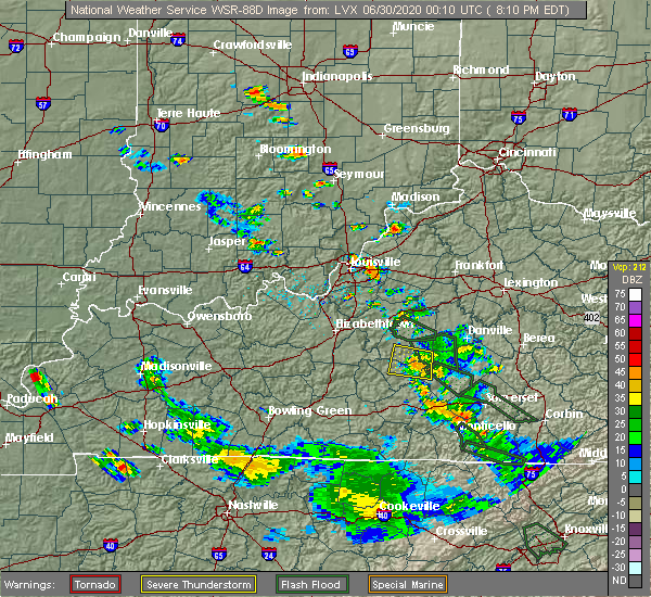 Radar Image for Severe Thunderstorms near Worthington Hills, KY at 6/29/2020 8:18 PM EDT