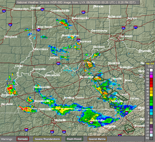 Radar Image for Severe Thunderstorms near Worthington Hills, KY at 6/29/2020 8:35 PM EDT