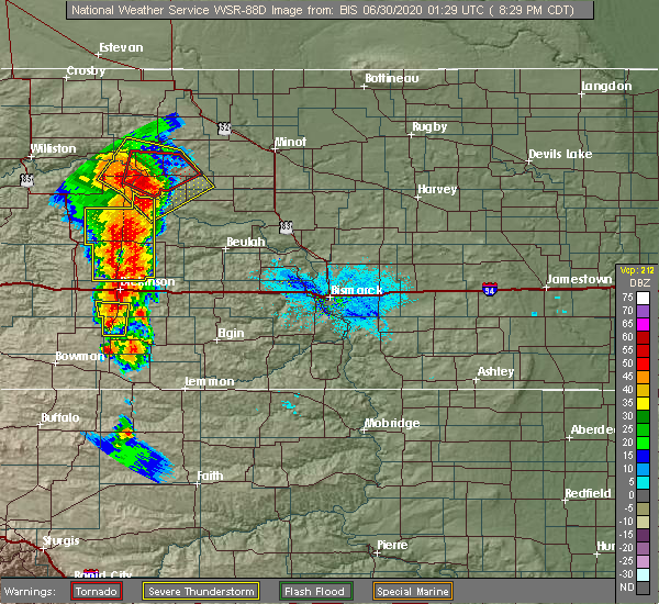 Radar Image for Severe Thunderstorms near Dickinson, ND at 6/29/2020 7:33 PM MDT