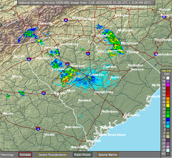 Radar Image for Severe Thunderstorms near Batesburg-Leesville, SC at 6/29/2020 9:33 PM EDT