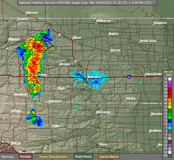 Radar Image for Severe Thunderstorms near New England, ND at 6/29/2020 7:43 PM MDT