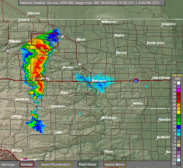 Radar Image for Severe Thunderstorms near Dickinson, ND at 6/29/2020 7:53 PM MDT
