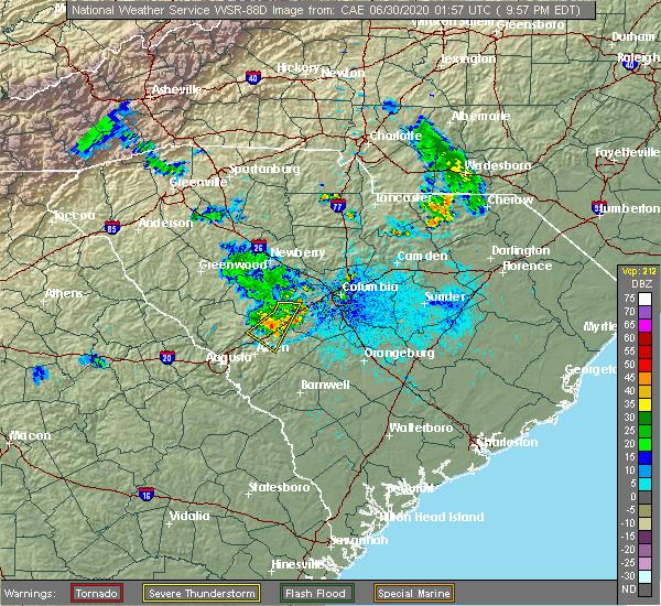 Radar Image for Severe Thunderstorms near Batesburg-Leesville, SC at 6/29/2020 9:59 PM EDT