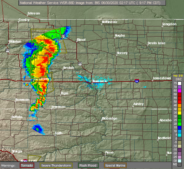 Radar Image for Severe Thunderstorms near Richardton, ND at 6/29/2020 8:23 PM MDT