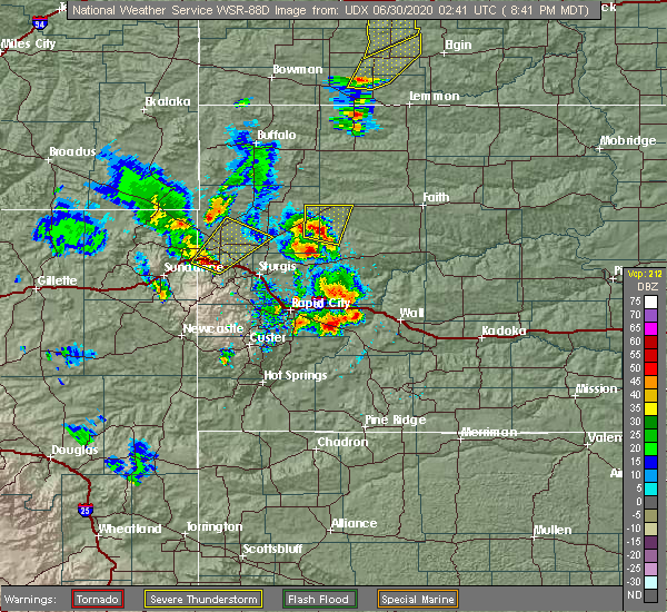 Radar Image for Severe Thunderstorms near Fruitdale, SD at 6/29/2020 8:43 PM MDT